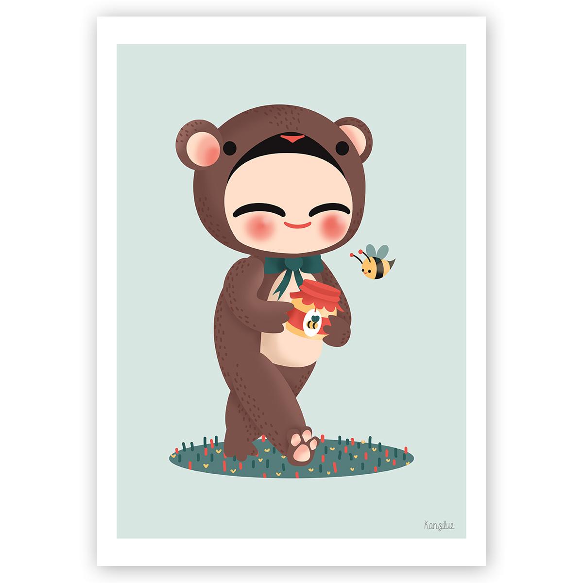 """affiche """"les adorables costumés - l'ours"""""""