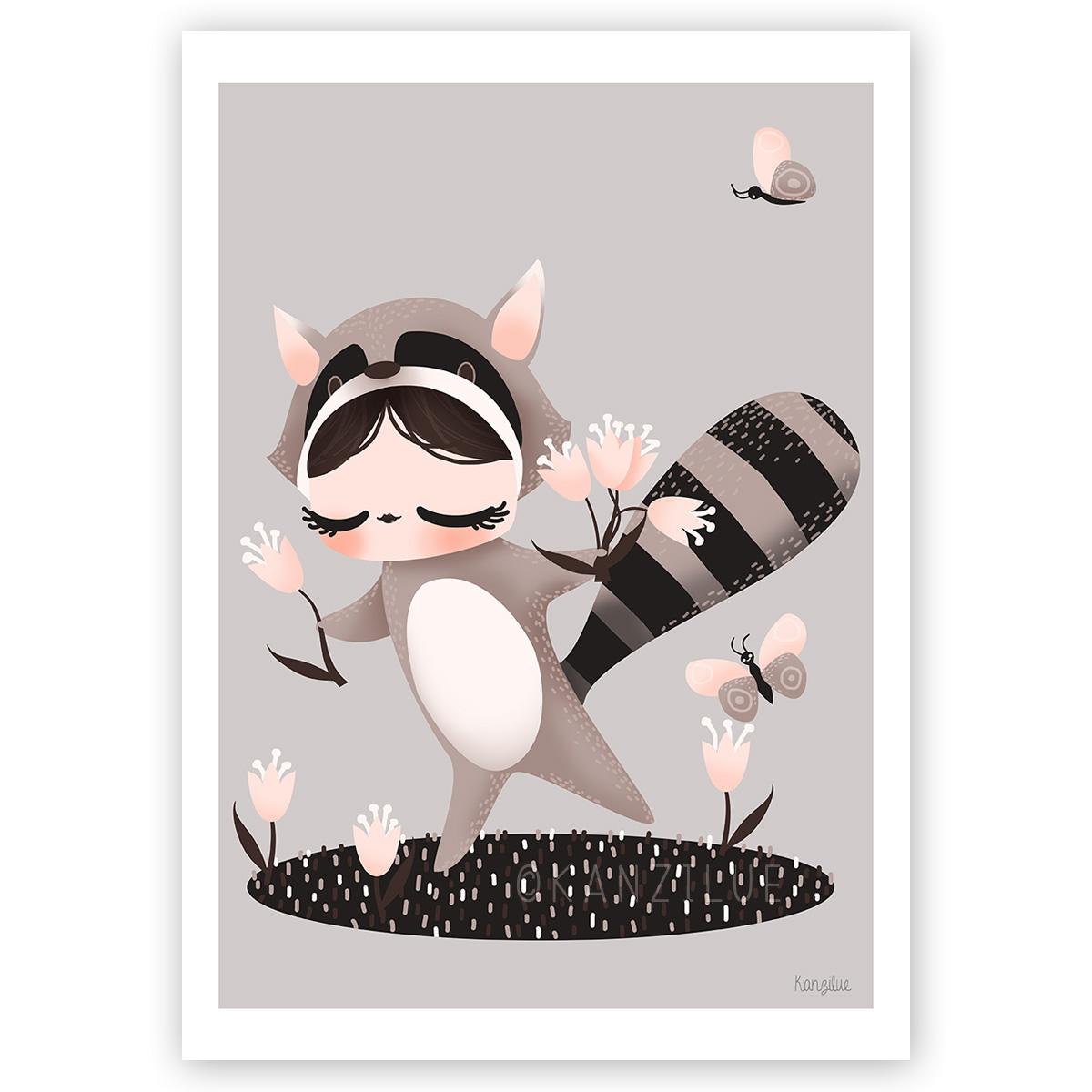 """affiche """"les adorables costumés - le raton laveur"""""""