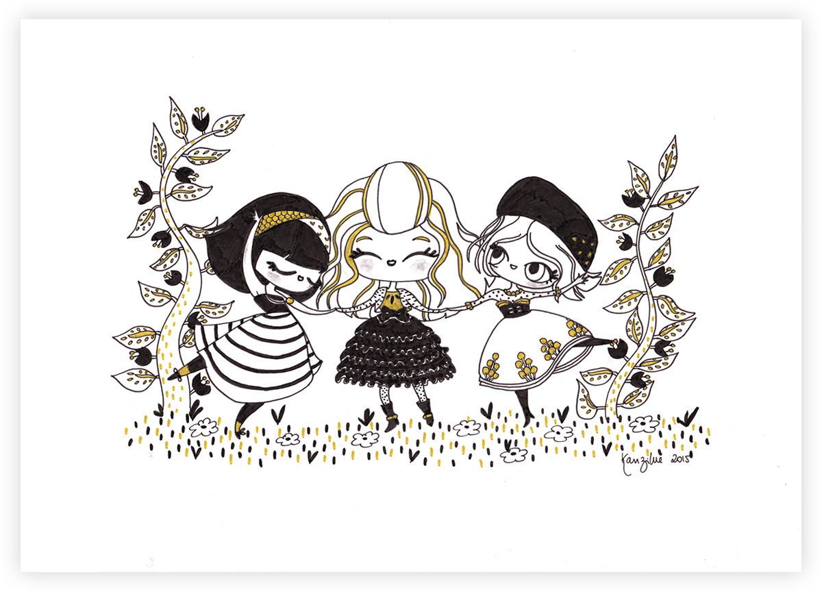 Kanzilue - Illustration originale - les danseuses