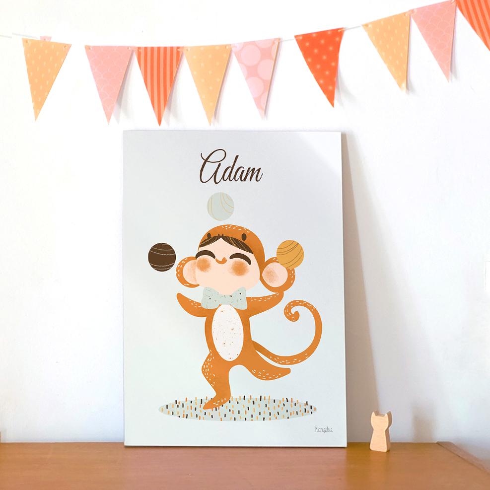 tableau personnalisable - adorable costumés- singe