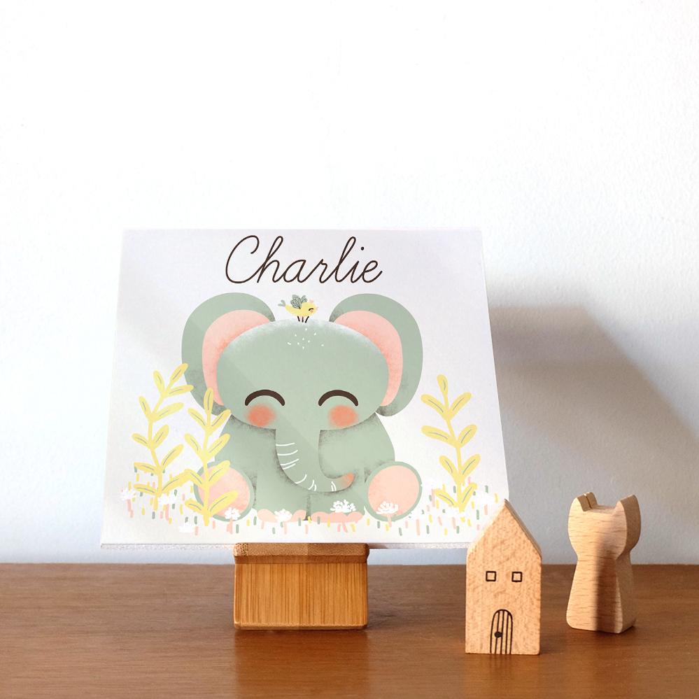 Plaque de porte les Animignons, le petit Elephant