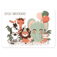 carte anniversaire animignons jungle