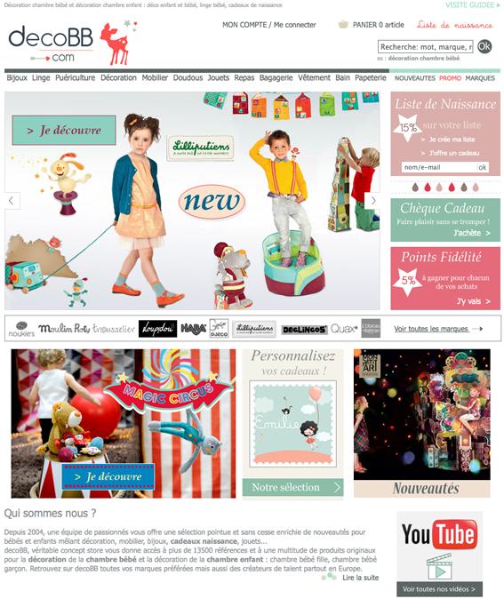 Page d'accueil du site decoBB