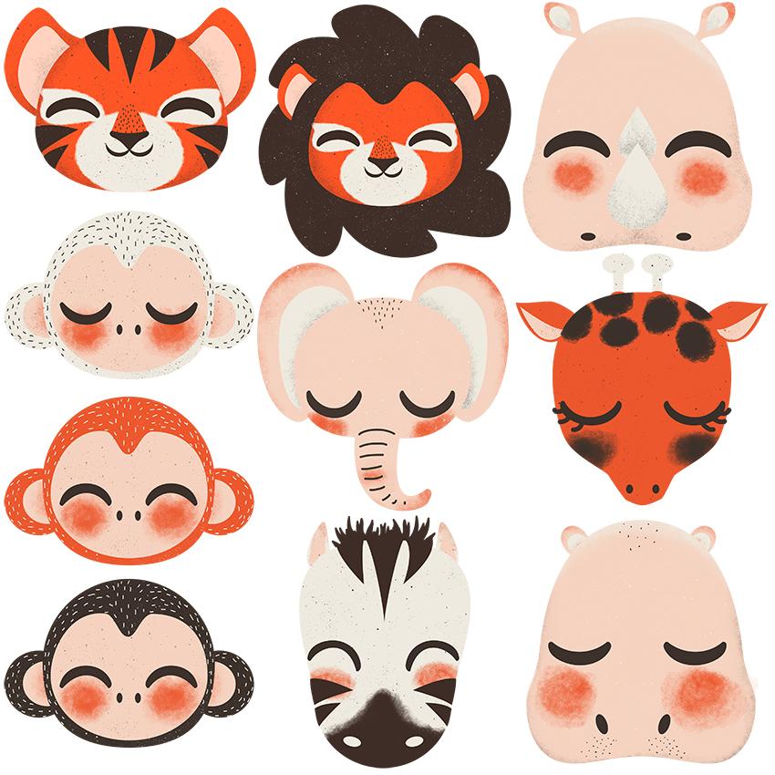 stickers les animaux de la jungle