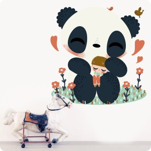 kanzilue stickers mural le panda et l'enfant