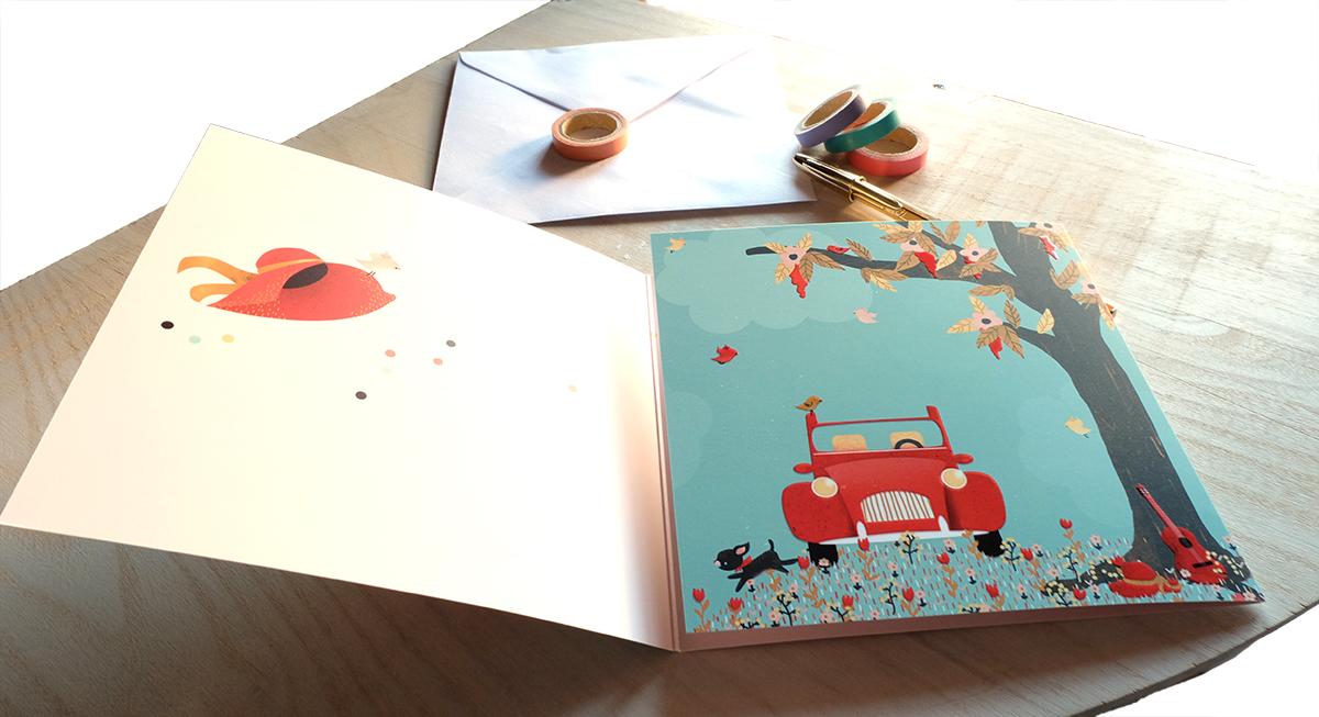 Carte La Vie est Belle, illustration intérieure - éditions Aquarupella