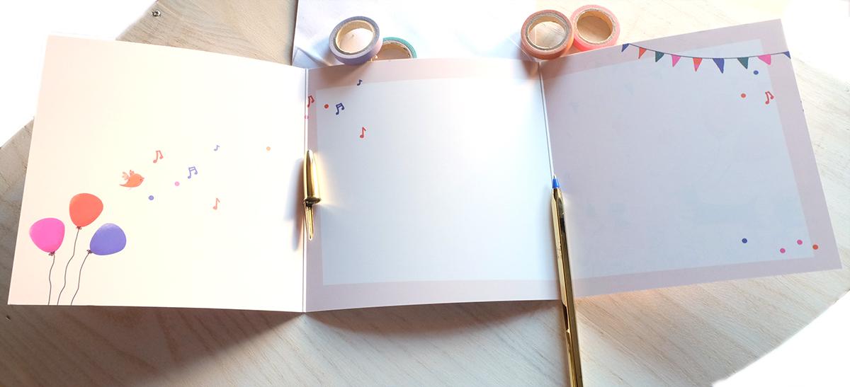 Carte Joyeux anniversaire, illustration intérieure - éditions Aquarupella
