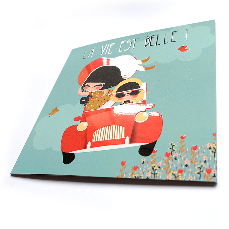 Carte La vie est Belle - éditions Aquarupella - vernis sélectif