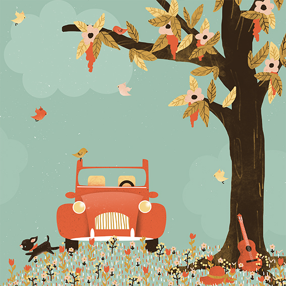 Carte La Vie est Belle , éditée chez Aquarupella/Pictura, illustration intérieure