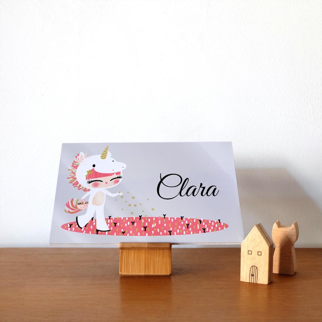 plaque de porte personnalisable - adorable costumés- licorne