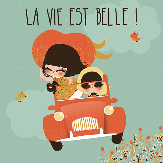 La vie est belle - recto - illustration pour la collection de cartes Carrousel, éditées par Pictura/Aquarupella