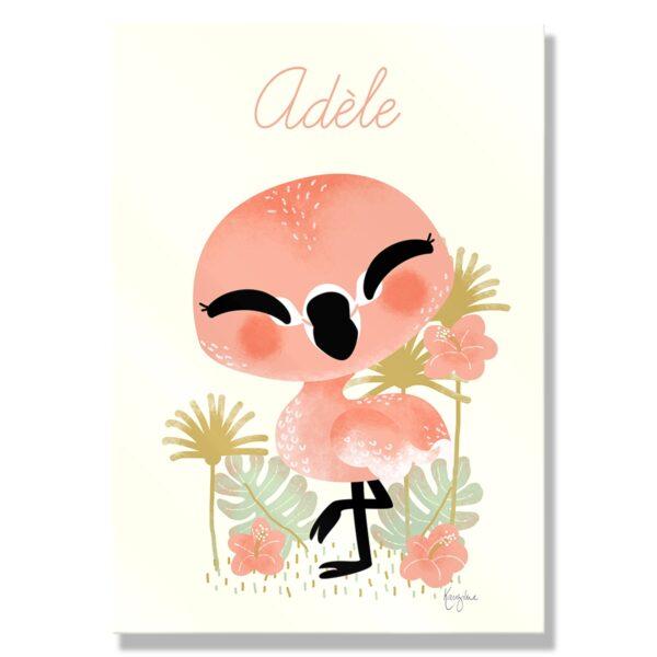 Tabeau Prenom Bebe Animal Flamant Rose Kanzilue La Boutique Part 1