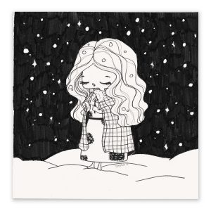illustration originale – série Inktober 2017 – Jour 13 – La Petite Fille aux Allumettes