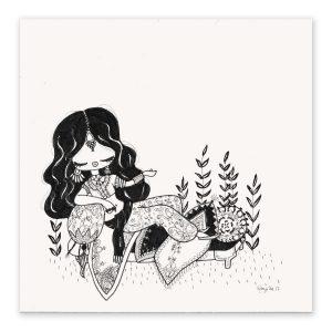 illustration originale – série Inktober 2017 – Jour 14 – Shéhérazade