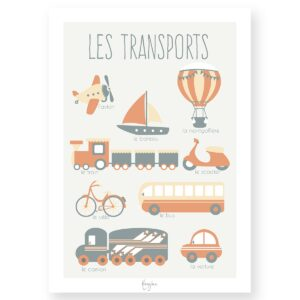 Affiche éducative – Transports -orange